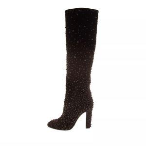 Alberta Ferretti embelished velour boots 37
